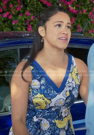 Jane's blue and yellow floral dress on Jane the Virgin
