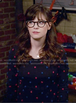 Jess's red and blue polka dot sweater on New Girl