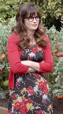 Jess's black and red floral dress on New Girl