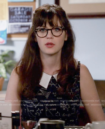 Jess's black and white science print dress on New Girl