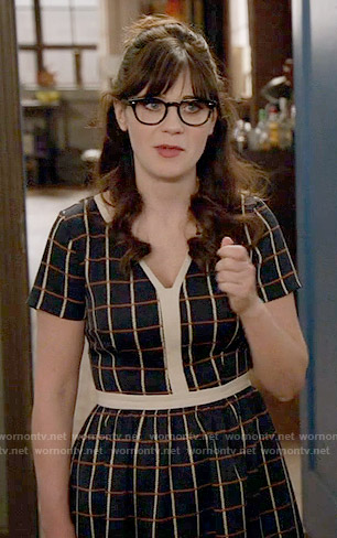 Jess's checked dress with white trim on New Girl