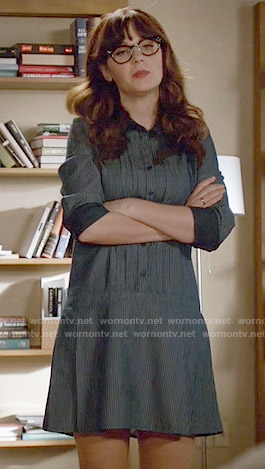 Jess's blue drop-waist shirtdress on New Girl