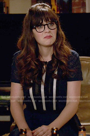 Jess's navy lace-striped dress on New Girl