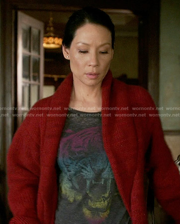 Joan's rainbow tiger graphic tee on Elementary