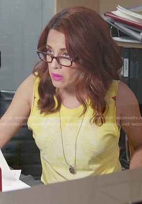 Jo's yellow tank top with red stars on Girlfriends Guide to Divorce