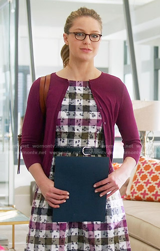 Kara's floral checked dress on Supergirl