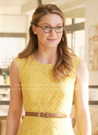 Kara's yellow textured dress on Supergirl