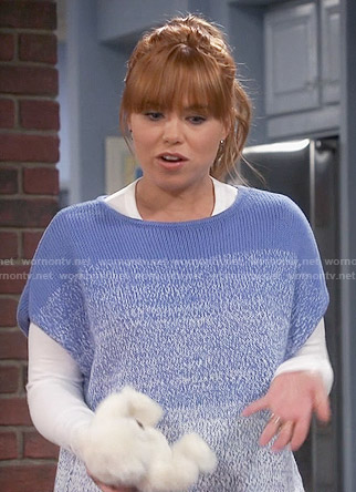 Kristin's blue ombre sweater on Last Man Standing