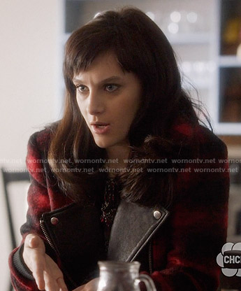 Layla's red plaid moto jacket on Nashville