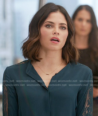 Lucy's teal lace sleeve blouse on Supergirl