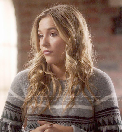 Maddie's fringed sweater on Nashville