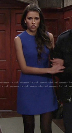 Marisa's solid blue dress on The Young and the Restless