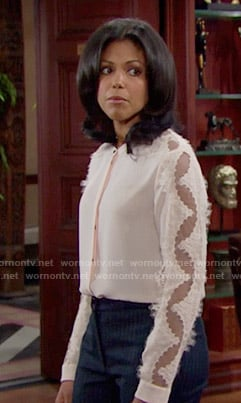 Maya's blush pink shirt with lace sleeves on The Bold and the Beautiful