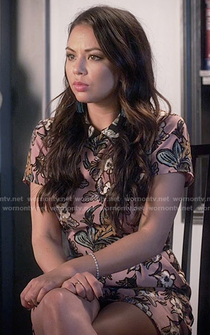 Mona's pink floral collared playsuit on Pretty Little Liars