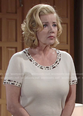 Nikki's white short sleeved top with beaded trim on The Young and the Restless