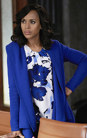 Olivia's blue floral blouse on Scandal