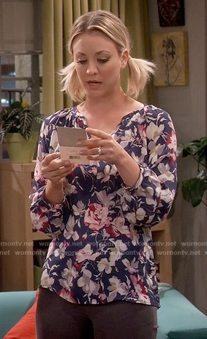 Penny's blue and pink floral blouse on The Big Bang Theory