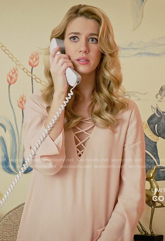 Petra's blush pink lace-up dress on Jane the Virgin