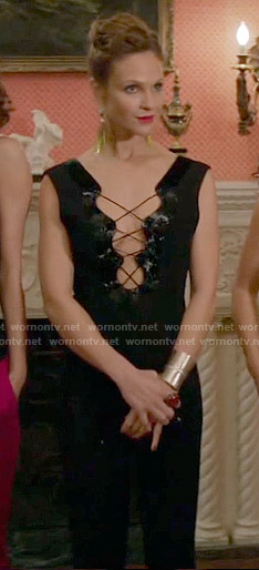 Phoebe's black lace-up jumpsuit on Girlfriends Guide to Divorce