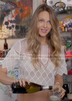 Phoebe's white lace crop top on Girlfriends Guide to Divorce
