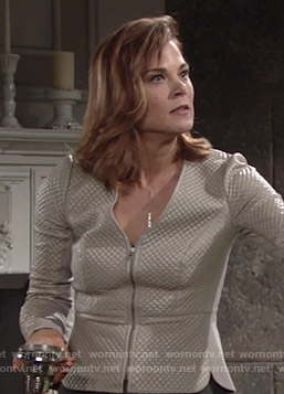 Phyllis's beige quilted leather jacket on The Young and the Restless