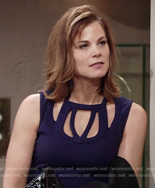 Phyllis's navy blue dress with cutouts on The Young and the Restless