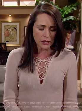 Quinn's beige lace-up sweater on The Bold and the Beautiful