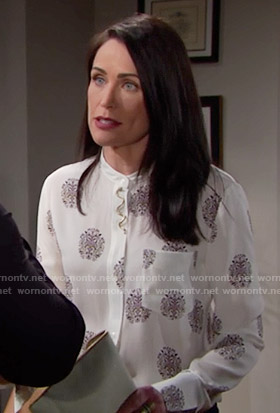 Quinn's white printed blouse on The Bold and the Beautiful