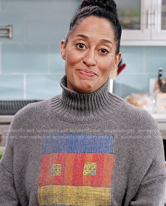 Rainbow's grey printed turtleneck sweater on Black-ish