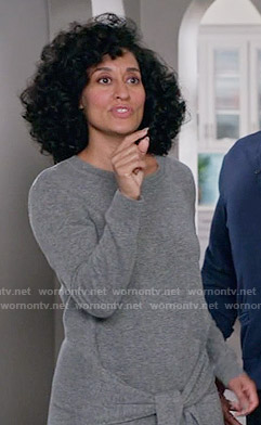 Rainbow's grey tie-waist sweater dress on Black-ish