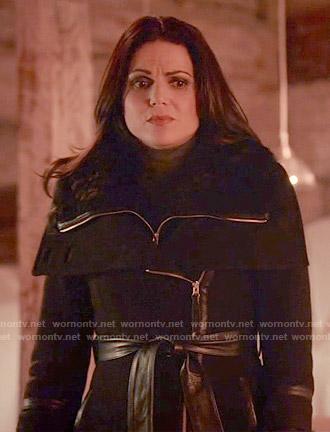 Regina's black leather trimmed coat on Once Upon a Time