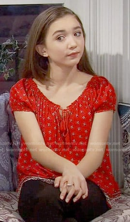 Riley's red printed peasant top on Girl Meets World