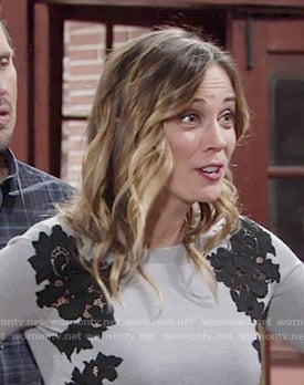 Sage's grey sweater with black lace on The Young and the Restless