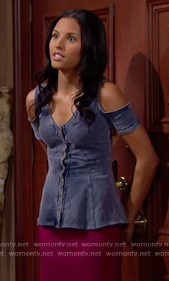 Sasha's denim cold shoulder top on The Bold and the Beautiful