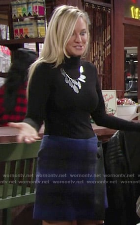Sharon's blue plaid wrap skirt on The Young and the Restless