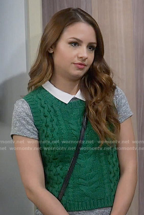 Sofia's green cable knit vest on Young and Hungry