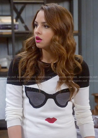 Sofia's sunglasses sweater on Young and Hungry