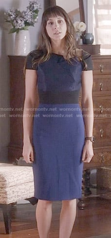Spencer's blue and black folded neck dress on Pretty Little Liars