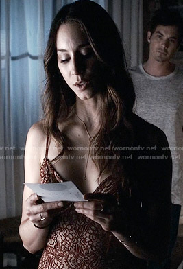 Spencer's red lace slip on Pretty Little Liars