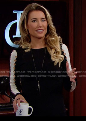 Steffy's black and white dress with sleeve cutouts on The Bold and the Beautiful