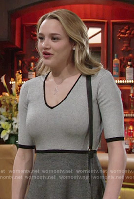 Summer's grey two-tone dress on The Young and the Restless