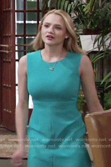Summer's solid turquoise blue dress on The Young and the Restless