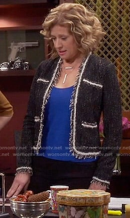 Vanessa's black tweed jacket with white trim on Last Man Standing