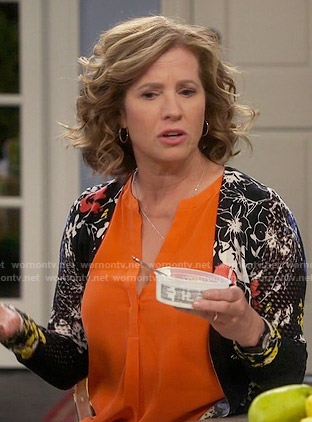 Vanessa's black floral cardigan on Last Man Standing