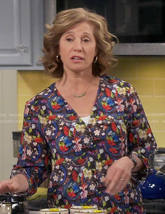 Vanessa's floral v-neck blouse on Last Man Standing