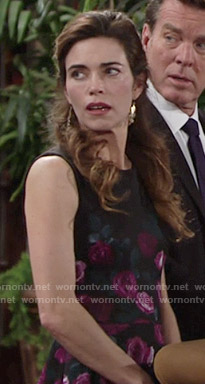 Victoria's black and pink rose print dress on The Young and the Restless