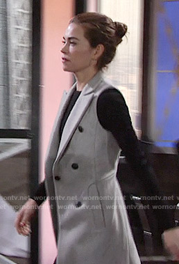 Victoria's long grey vest on The Young and the Restless
