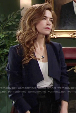 Victoria's navy draped jacket on The Young and the Restless
