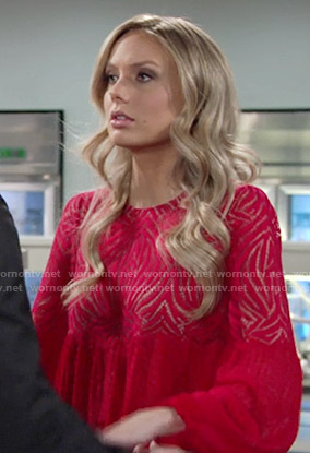 Abby's red lace long sleeved dress on The Young and the Restless