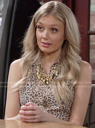 Abby's sleeveless leopard print shirtdress on The Young and the Restless
